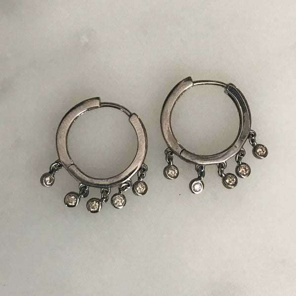 silver diamond drops hoop earrings