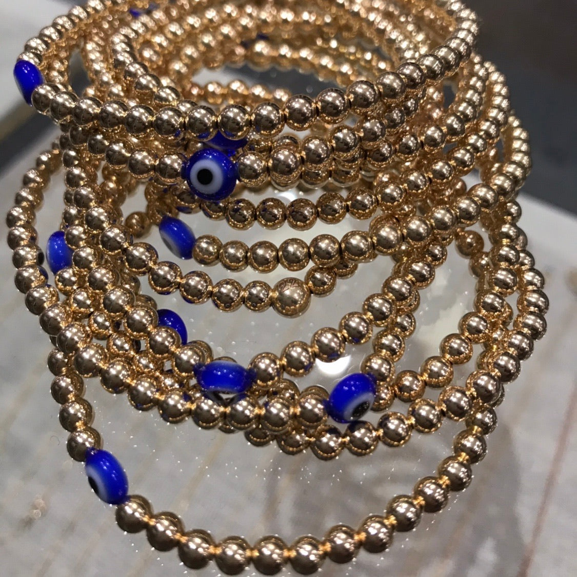 14k gold beaded athena bracelet