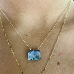"boulder opal on a 15"" 14k gold chain"