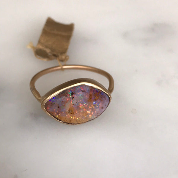 australian boulder opal set in 14k gold