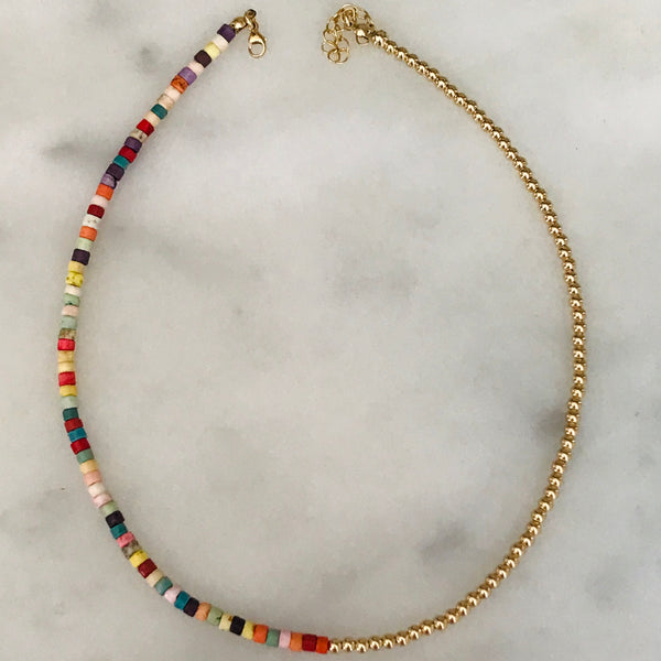 rainbow + 14k gold beaded choker