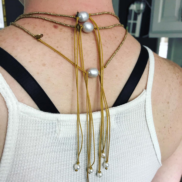 pearls on brass beaded adjustable cord