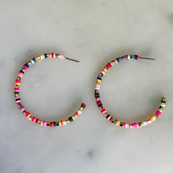 rainbow beaded hoops with gold beads. 1.75""