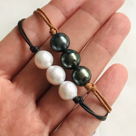 triple pearl bracelet on leather