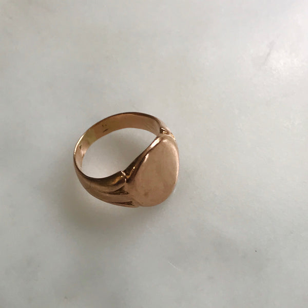 9k antique rose gold signet ring