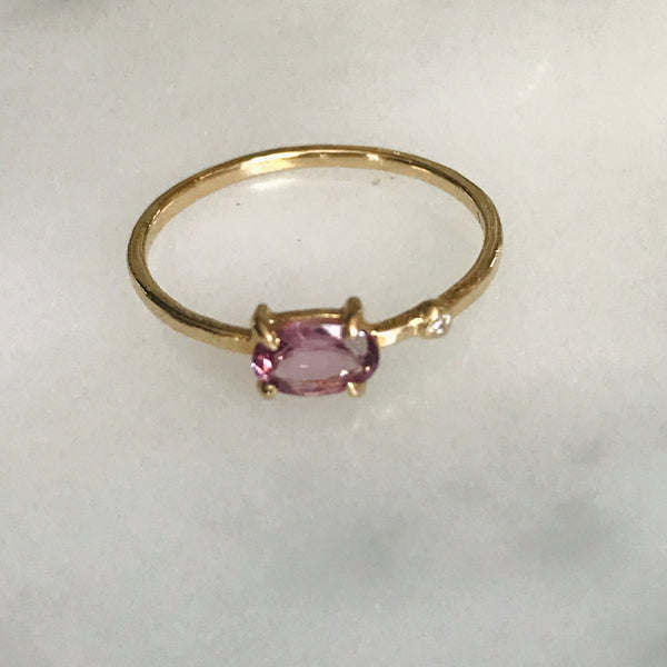 hot pink spinel diamond wink ring 14k gold