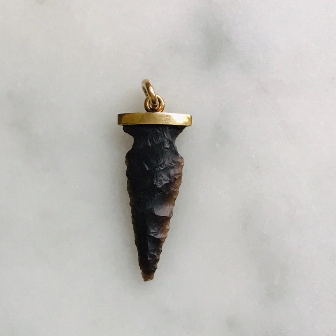 antique shale arrowhead charm 14k gold cap