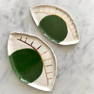 ceramic evil eye jewelry dish with gold leaf detail