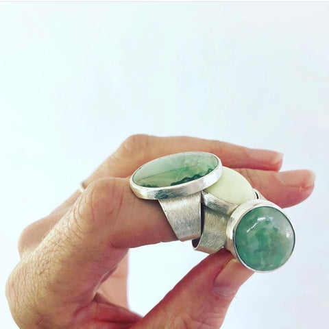 chrysoprase silver oval ring