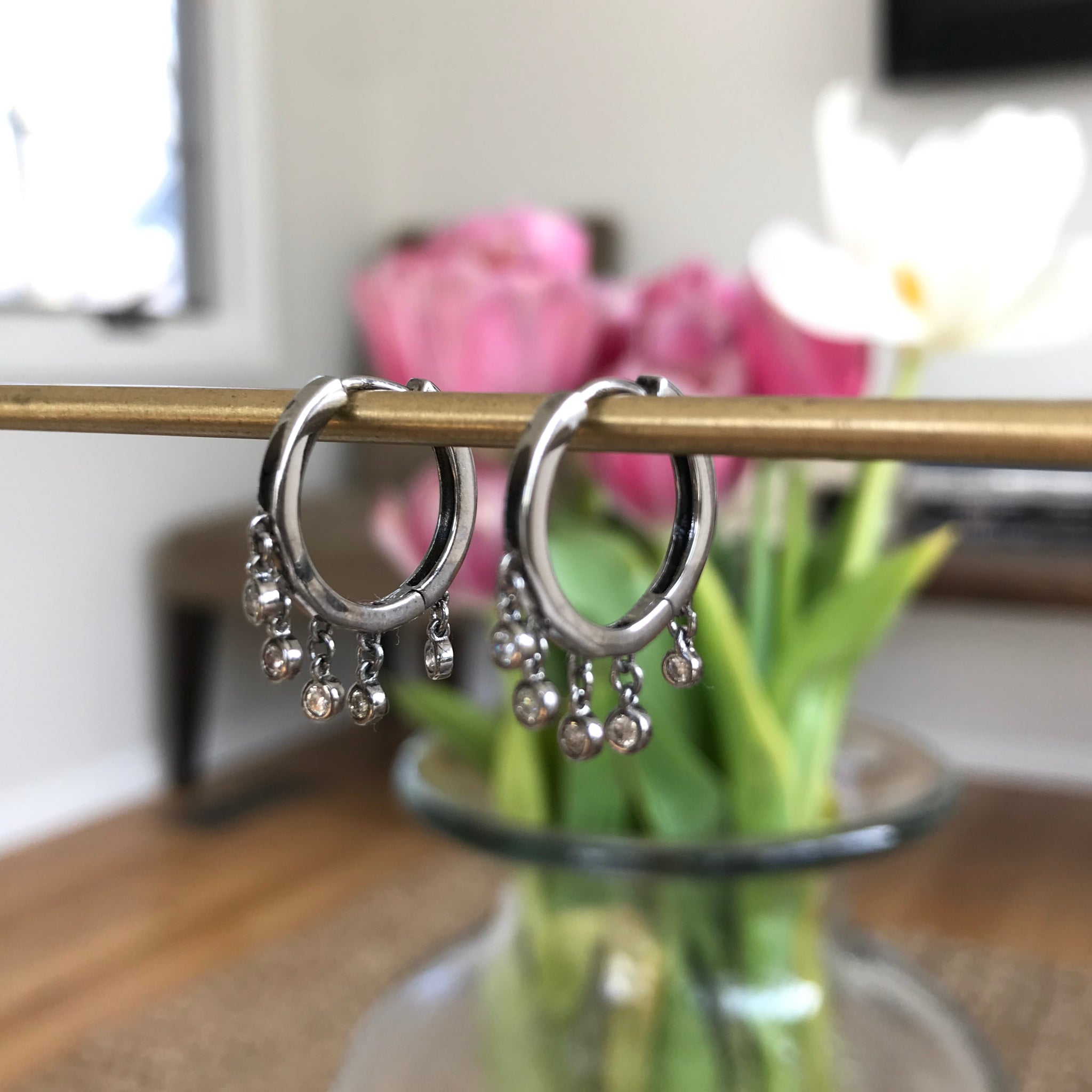 little silver hoops with diamond drops