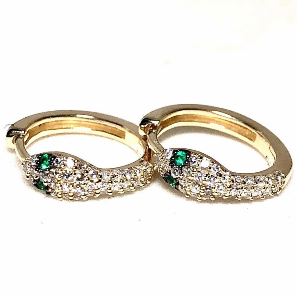 14k gold diamond snake huggies with emerald eyes