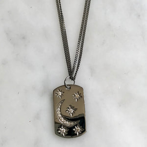 silver and diamond moon and starts necklace