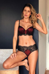 Completo intimo pizzo rosso - Donna