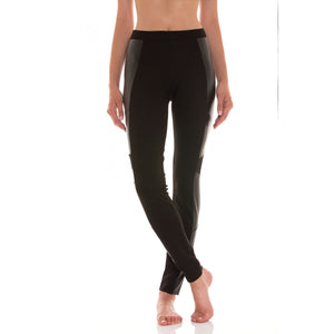 Leggings biker ecopelle/viscosa - Donna