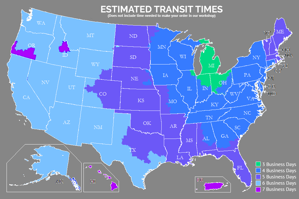 shipping and transit times map