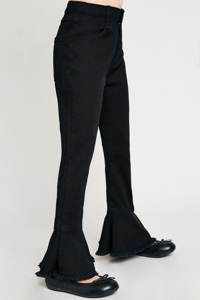 Black Denim Cropped Flares