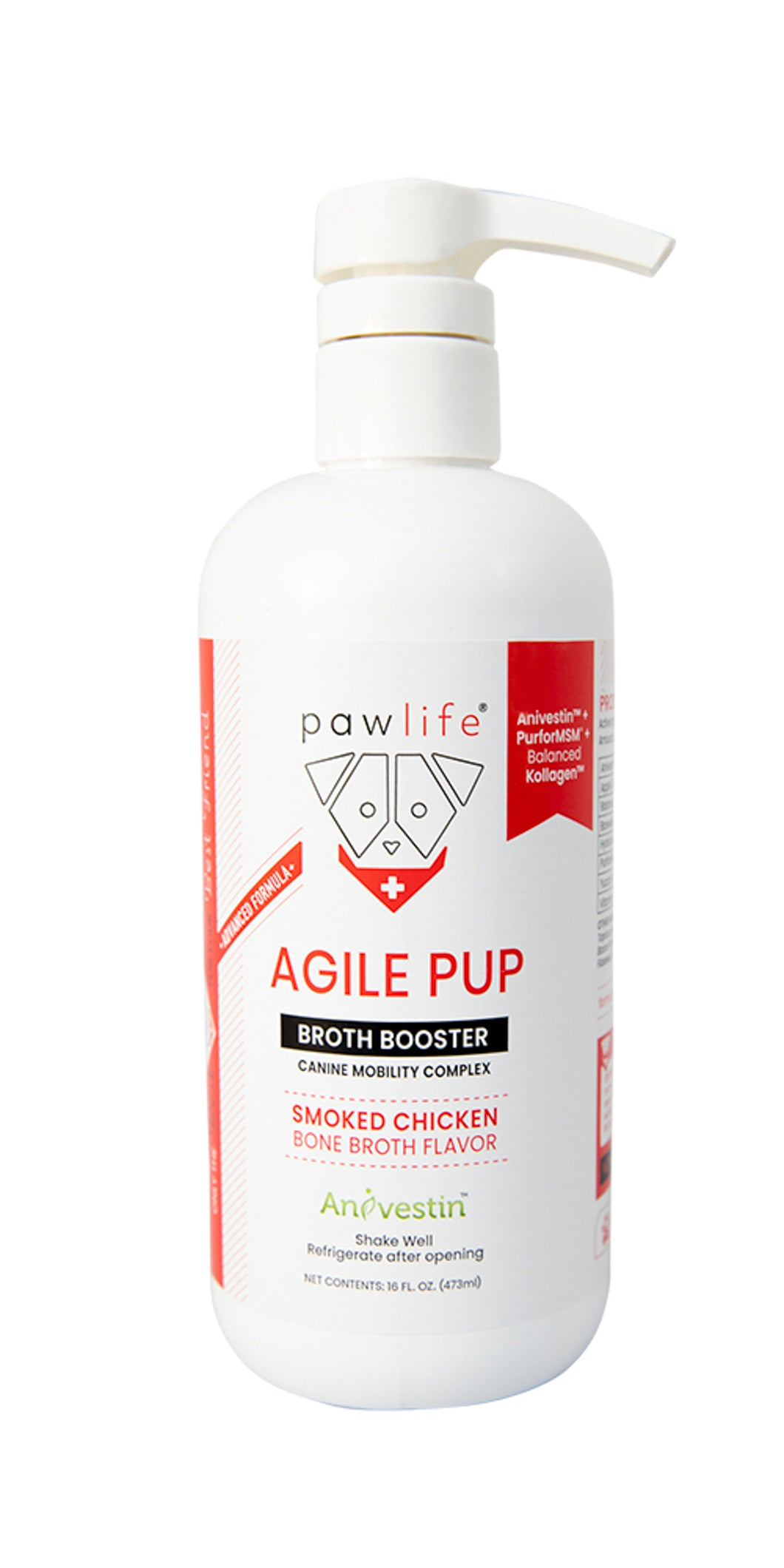 NEW - Agile Pup Advanced Formula - Bone Broth Food Topper, 16oz