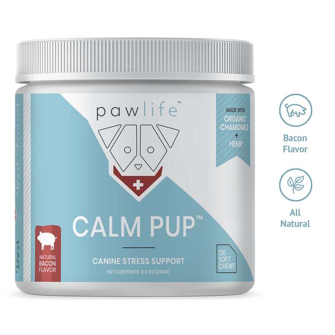 Calm Pup bacon flavor soft chews with Hemp for dogs