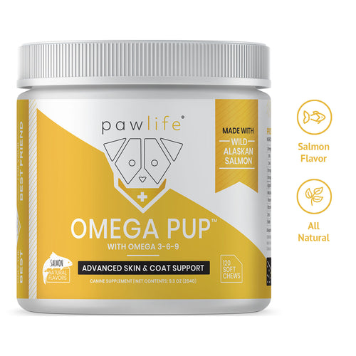 Omega Pup soft chews for dog skin and coat support