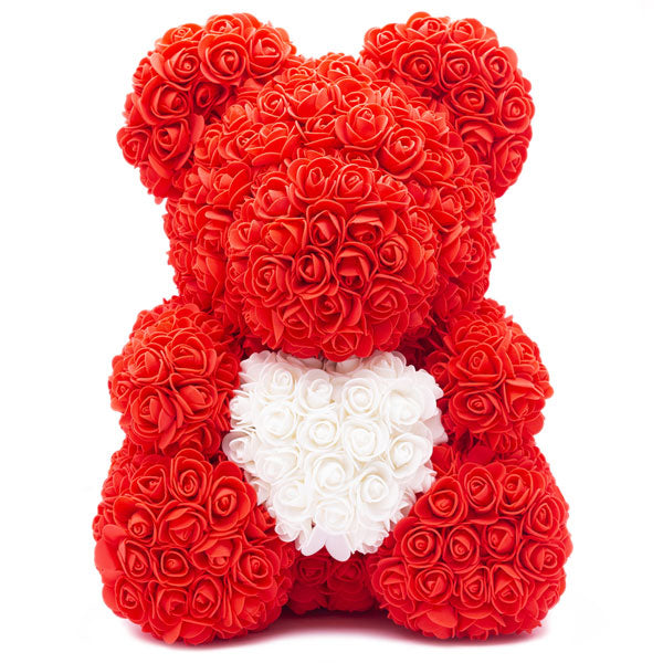 RED ROSE BEAR (WHITE HEART) - Home of Roses