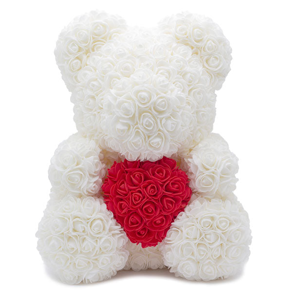 WHITE ROSE BEAR (RED HEART) - Home of Roses