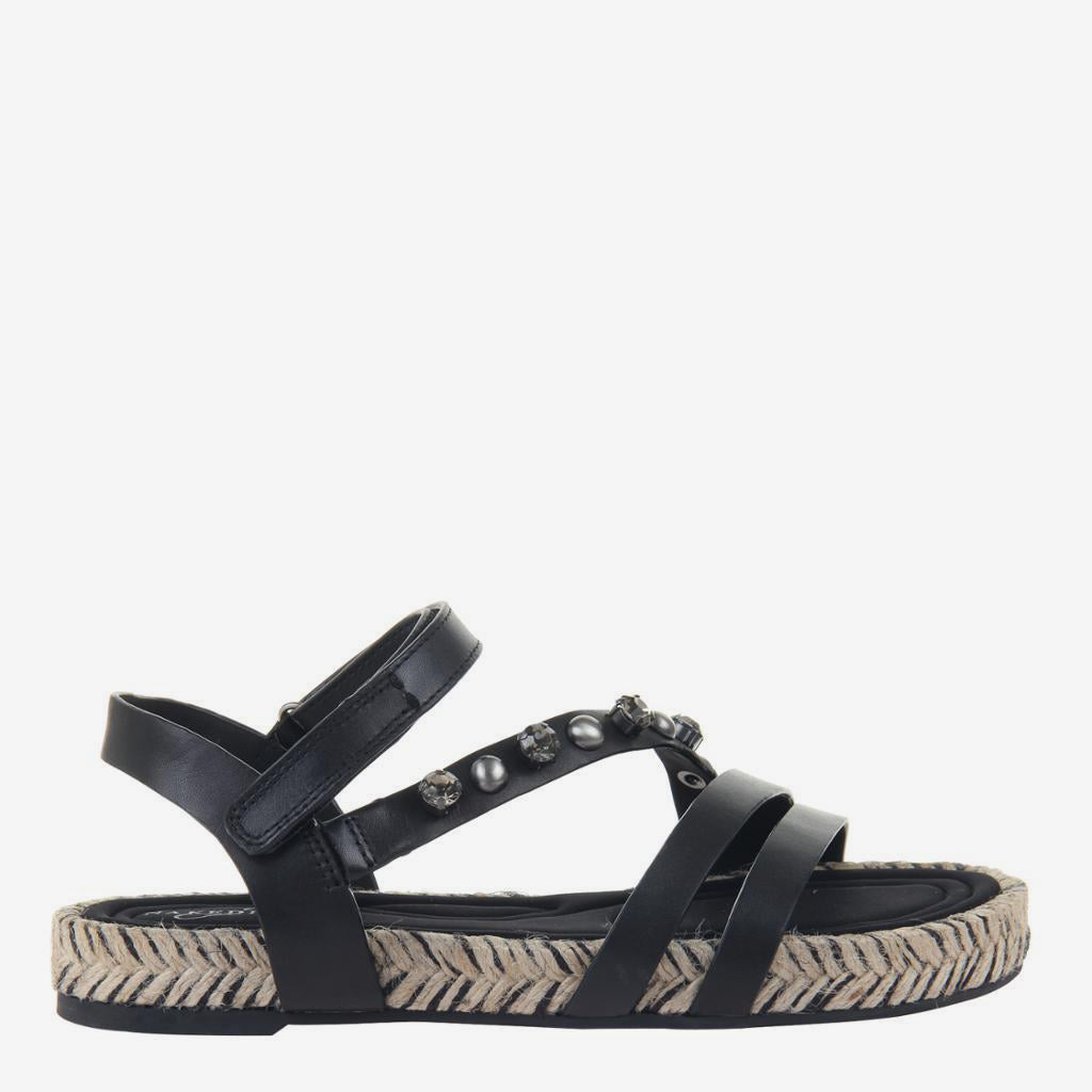 Arko in Black Flat Sandals