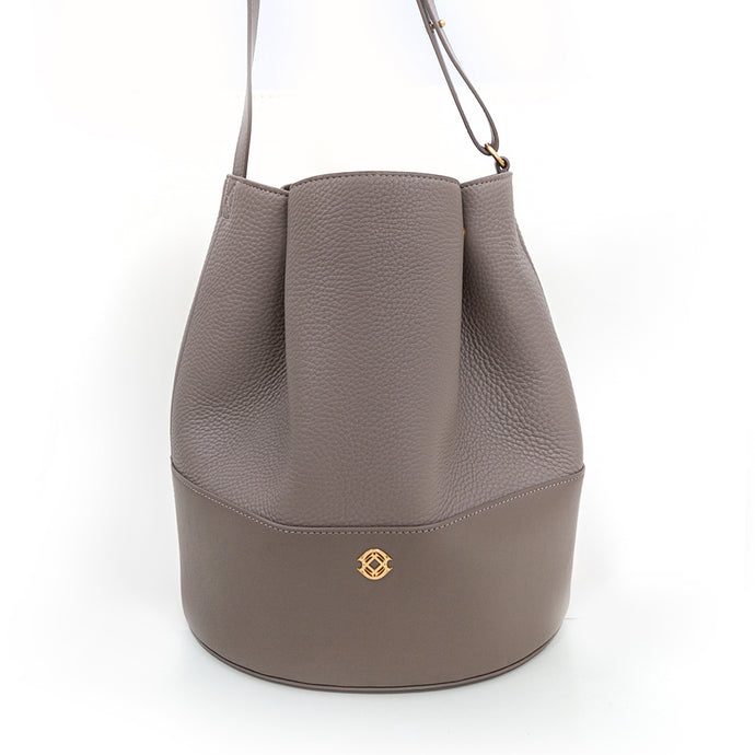 Dagne Dover Grey Pebble Leather Bucket Bag