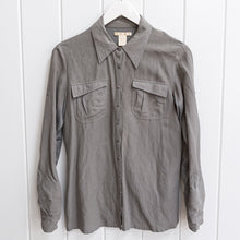 Load image into Gallery viewer, Gold Hawk Grey Silk Blouse Size XS