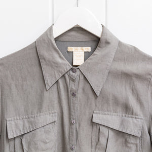 Gold Hawk Grey Silk Blouse Size XS