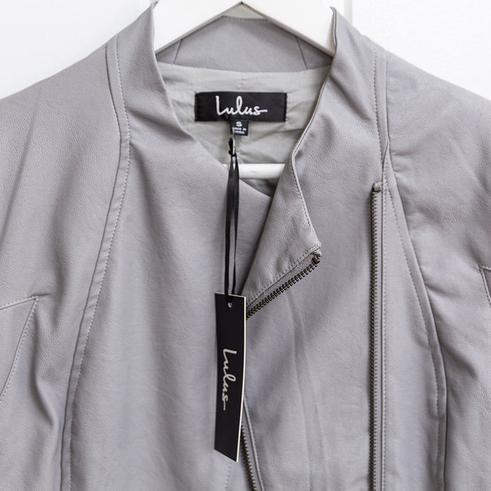 Lulu's Grey Faux Leather Biker Jacket Size S