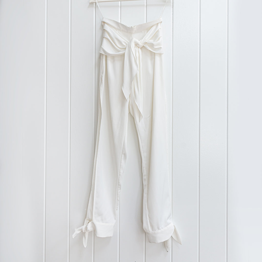 Premonition White Open Leg Harem Pants Size 4