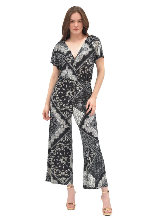 Jumpsuit con estampado tribal cuello v (4564370227267)
