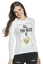 "Suéter con estampado ""all you need is"" (4567841505347)"