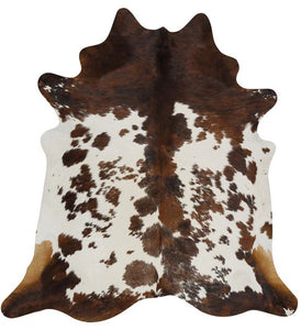 Brown and White Tricolor Brazilian Cowhide Rug