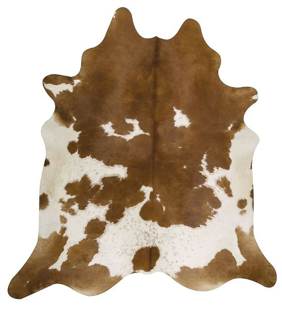 Light Brown and White Tricolor Brazilian Cowhide Rug