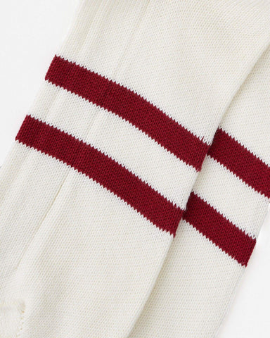 Red striped classic socks white