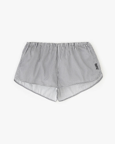 tiny gingham pyjama shorts black/white