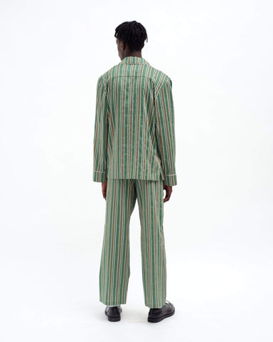 Men's pencil stripe classic cotton pyjama bottoms green