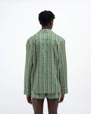 Men's pencil stripe classic cotton pyjama top green