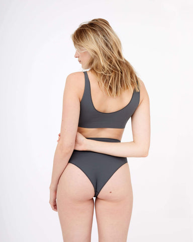 Semi sheer seamfree high waist briefs dark shadow