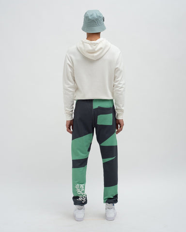Loose fit zig zag print track pants wasabi