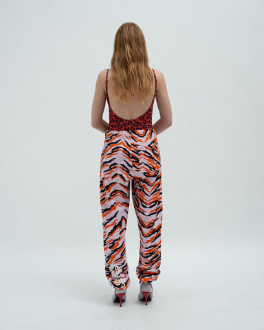 Loose fit tiger print track pants lilac
