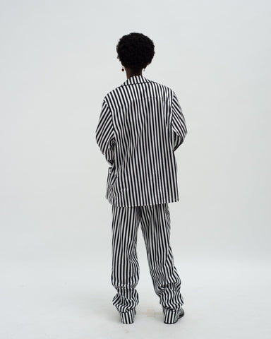 Striped classic cotton pyjama bottoms black