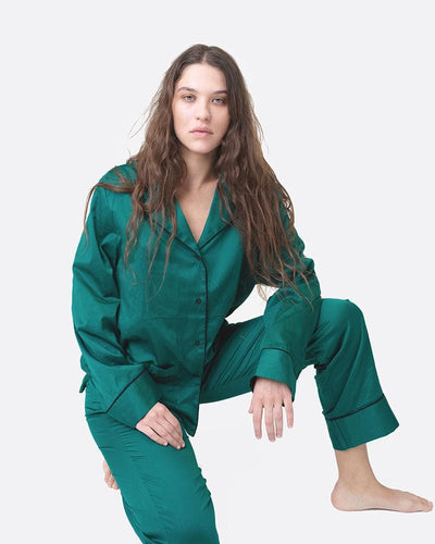 Womens classic cotton pyjama top and bottoms set