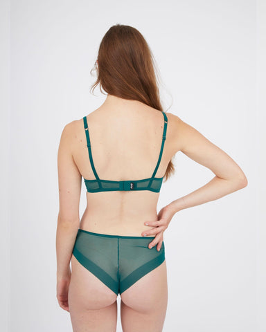 Smooth underwired bra forest green