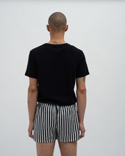 Striped woven boxers black