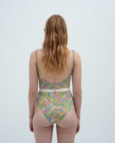 Liberty print belted swimsuit floral