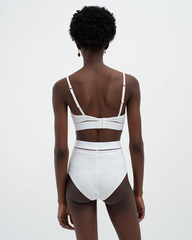 Ladder detail soft bra white