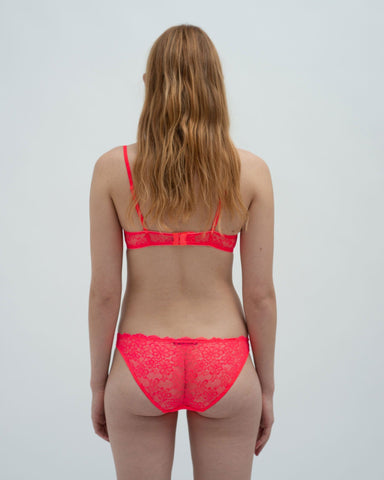 Daisy lace briefs neon rouge
