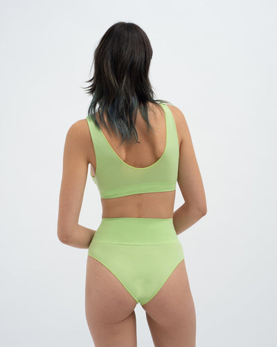 Semi sheer seamfree high waist briefs opaline green